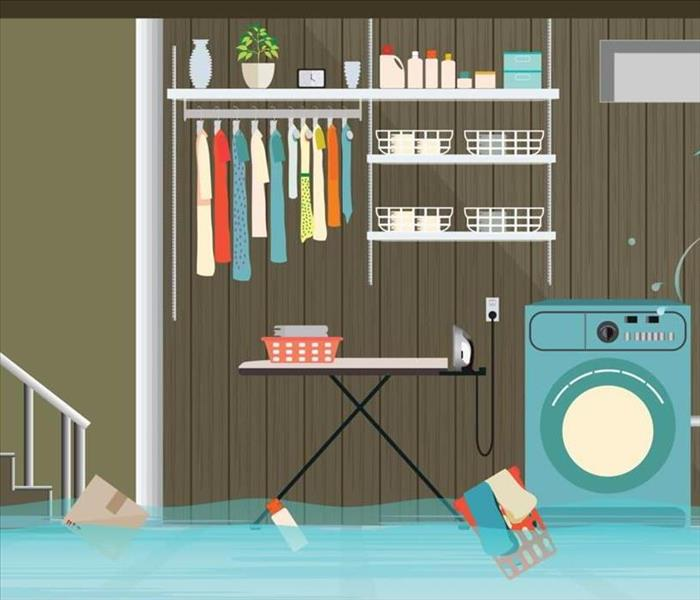 A cartoon of water damage to basement
