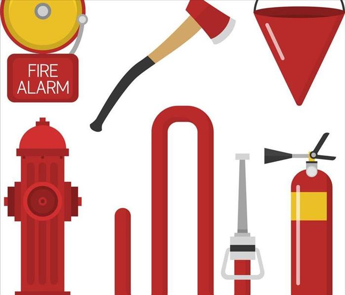A fire alarm, fire hose, fire extinguisher, and ax are in the picture